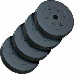 Zwarte ScSPORTS® 20 kg Halterschijven set kunststof 30 mm 4x5 kg