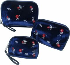 Donkerblauwe Jessidress Toilettassen Set van velours Make-up Etui´s - Donker Blauw