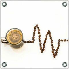 Bruine KuijsFotoprint Tuinposter –Koffie met Koffiebonen– 100x100 Foto op Tuinposter (wanddecoratie voor buiten en binnen)