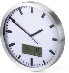 Perel ALUMINIUM WANDKLOK MET LCD-DISPLAY EN THERMOMETER, HYGROMETER & WEERSVOORSPELLING - Ø 25 cm