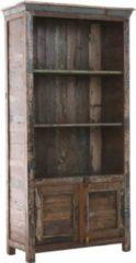 CLP Bücher-Schrank SIMRAN aus massivem recyceltem Teakholz 180 x 90 cm, Tiefe 42 cm