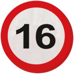 Merkloos / Sans marque 16 jaar verkeersbord servetten - 20 stuks