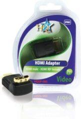 Zwarte HQ Adapter HDMI mannelijk - 90° vrouwelijk
