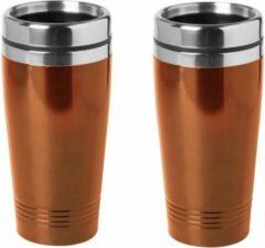 Bellatio Design 3x stuks warmhoudbeker/warm houd beker metallic oranje 450 ml - RVS Isoleerbeker/thermosbekers reisbekers voor onderweg