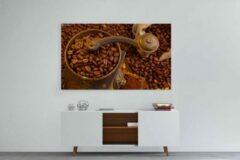 Prints4you Schilderij - Koffiebonen en koffiemolen — 90x60 cm