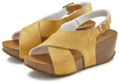 Gele LASCANA Sandaaltje, met sleehak en kurkvoetbed