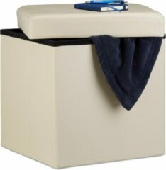 Creme witte Relaxdays zitkist met opslagruimte - 38 x 38 x 38 cm - kunstleer - poef - opbergruimte crème