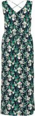 VERO MODA CURVE maxi jurk VMSIMPLYEASY met bladprint donkerblauw/groen/wit