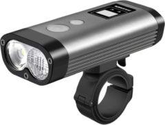 Grijze Ravemen PR1200 USB oplaadbaar DuaLens koplamp HiLo beam met display, afstandsbediening en powerbankfunctie – 1200Lu