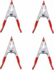 Zilveren Merkloos / Sans marque 12x stuks lijmklemmen met rode kunststof coating handgreep - 10 x 3.5 cm - lijmtangen / zeilklemmen / hobbyklemmen