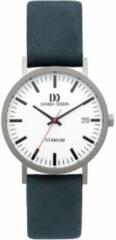 Danish Design IQ30Q199 Horloge Rhine Date Medium titanium-leder zilverkleurig-blauw-wit 35 mm