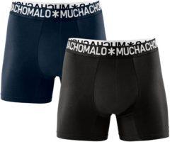Muchachomalo - Basis collectie Light cotton Heren Boxershort - 2-Pack - Donkerblauw/Zwart - Maat M