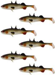 Beige Westin Stanley the Stickleback Shadtail - Lively Roach - 5.5cm - 1.5g - 6 Stuks - Groen