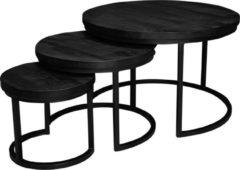 AnLi Style AnLi-Style Salontafel New York | Triole All Black Mango | Set van 3