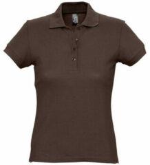 Bruine Polo Shirt Korte Mouw Sols PASSION WOMEN COLORS
