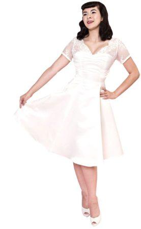 Afbeelding van Witte Heart of Haute Antoinette Kanten Jurk Wit - Plus Size