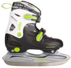 Zwarte Nijdam 3010 Junior IJshockeyschaats - Verstelbaar - Hardboot - Zwart/Wit/Groen - Maat 34-37