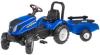 FALK Speelgoedtractor met pedalen New Holland met aanhanger blauw