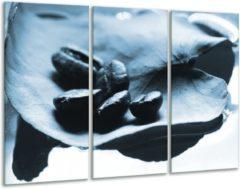 GroepArt Glas schilderij Koffiebonen, Keuken | Blauw, Wit | 120x80cm 3Luik | Foto print op Glas | F006656