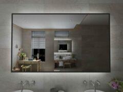 Viidako Badkamerspiegel - LED verlichting - Anti Condens - 3 LED Standen - Met Klok - Mat Zwart