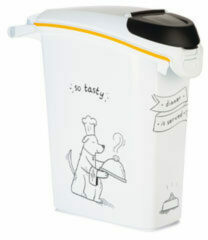 Witte Curver Voedselcontainer Dinner is Served hond met wielen 35 L