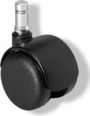 Hjh OFFICE 5x Hartbodenrollen ROLO FIX sitzgebremst 11mm / 50mm Zinkgussdruck (5er Pack)