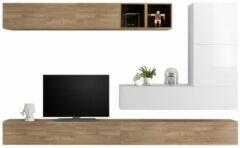 Pesaro Mobilia TV-wandmeubel set Adello in hoogglans wit met eiken