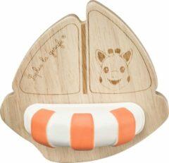 Oranje Sophie de giraf So Pure rubber en hout bootje
