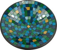 Fairtrade uit Indonesie Kom Mozaïek Blauw-Groen-Goudkleurig (38 cm)