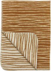 Gebroken-witte Meyco stripe flanel wiegdeken - 75x100 cm - camel/offwhite