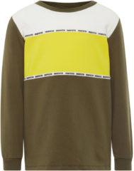 Groene NAME IT, Jongens Sweatshirt, geel / olijfgroen / wit