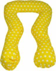 Merkloos / Sans marque Zwangerschapskussen - Voedingskussen - 100% katoen - 300 cm - geel met witte stipjespatroon