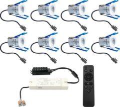 Grijze HOFTRONIC™ Complete LED inbouwspots set 8x3W 12V Mini 28 mm dimbare Milano IP65 spatwaterdicht voor Veranda, Badkamer, Tuinhuis en Woonkamer