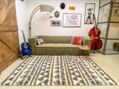 Aledin Carpets Bayamo Hoogpolig Vloerkleed 160 x 230 cm Grijs/Wit