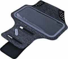 Ntech Sportarmband Fabric/Stof met Sleuterhouder voor Samsung Galaxy A40 - Zwart/Grijs