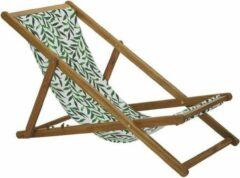 Beliani Strandstoel set van 2 acaciahout stof lichtbruin/wit/groen ANZIO