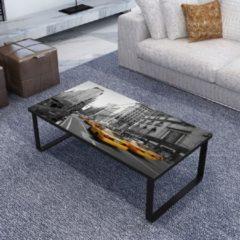 Grijze VidaXL Salontafel met glazen tafelblad rechthoekig VDXL 240967