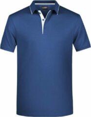 James & Nicholson Grote maten polo shirt Golf Pro premium navy/wit voor heren - Blauwe plus size herenkleding - Werk/zakelijke polo t-shirt 3XL