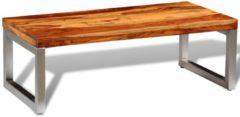 Bruine VidaXL Salontafel met stalen poten massief sheesham hout