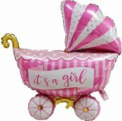 Feestballonnenverkoop Kinderwagen ballon - XL - 94x81cm - Roze - Folie ballon - Themafeest - Babyshower - Geboorte - It's a Girl - Versiering - Ballonnen - Helium ballon