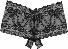 Underneath Mila Kanten Short Met Open Kruis – Sexy Lingerie – Kanten Details – Zwart