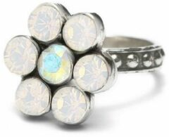 Zilveren Dolce Luna Ring Flower wit