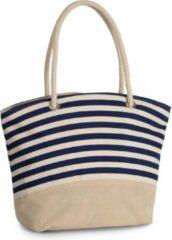 Marineblauwe Merkloos / Sans marque Shopping tas in jute gestreept