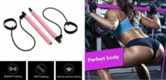 Petasos Fitness Bar - Fitness Elastiek - Pilates Stick - Pilates Bar - Fitness Stick - Yoga Bar - Weerstandsbanden - Resistance band - Roze