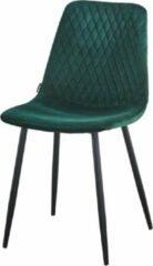 Troon collectie - Velvet stoel - Kuipstoel - Gestikt ruitjespatroon - Groen - Stevige zwart metalen onderstel - model Ariane - Zonder armleuning