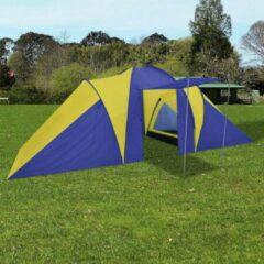 Merkloos / Sans marque Campingtent Blauw Geel 6 persoons 580x240x200cm - Koepeltent - Kampeertent - Pop-up tent