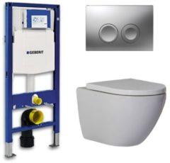 Douche Concurrent Geberit Up 100 Toiletset - Inbouw WC Hangtoilet Wandcloset - Shorty Delta 21 Mat Chroom