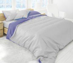 Bedlin Luxe Flanel Dekbedovertrek Lits-Jumeaux 240x220cm Effen Grijs-Blauw