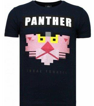 Afbeelding van Blauwe T-shirt Korte Mouw Local Fanatic Panther For A Cougar - Rhinestone T-shirt