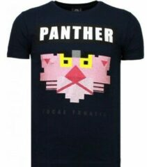 Zwarte Local Fanatic Panther For A Cougar - Rhinestone T-shirt - Blauw Panther For A Cougar - Rhinestone T-shirt - Wit Heren T-shirt Maat XL